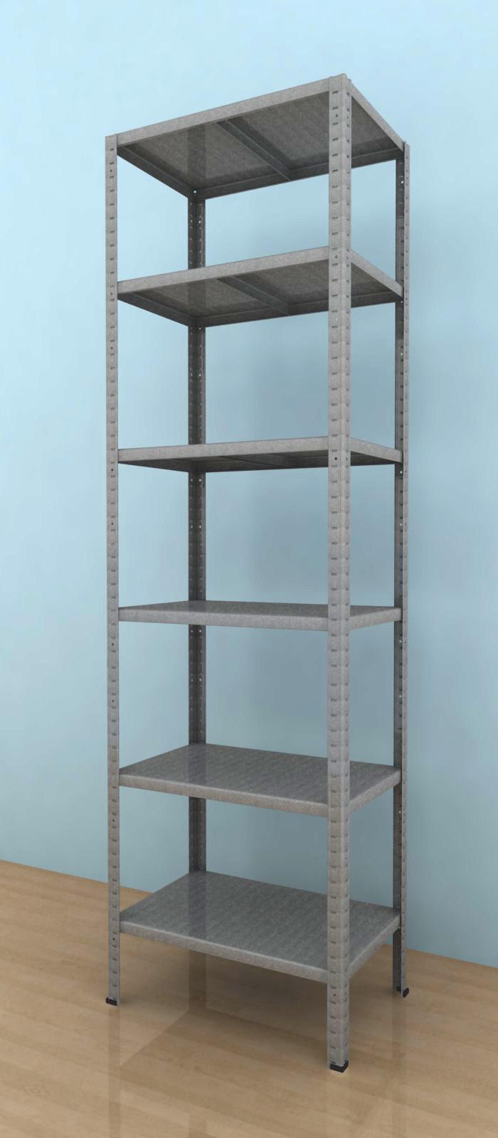 Kovový regál Drumy 2500x900x400/6, 100kg/pol., pozink