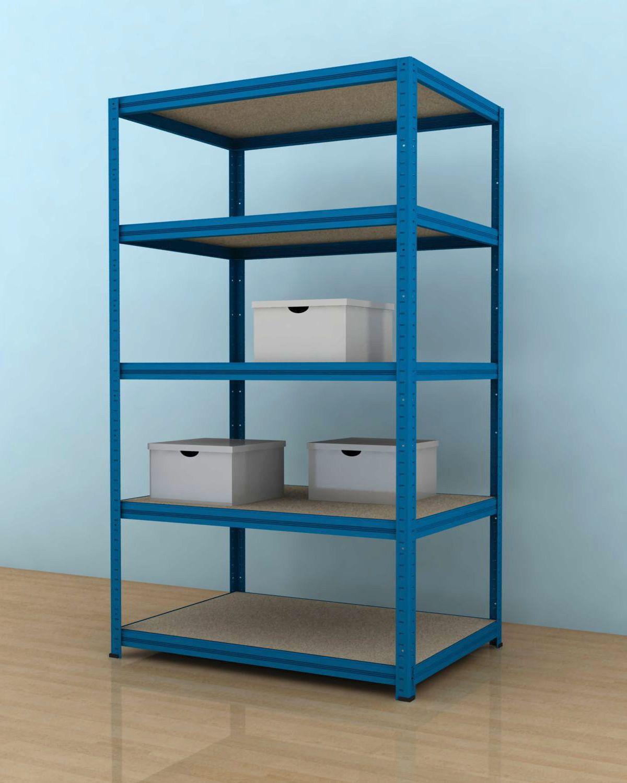Kovový regál Futur 1600x900x500/5, modrá, 175 kg/pol. (DTD-surová, bez výztuh )