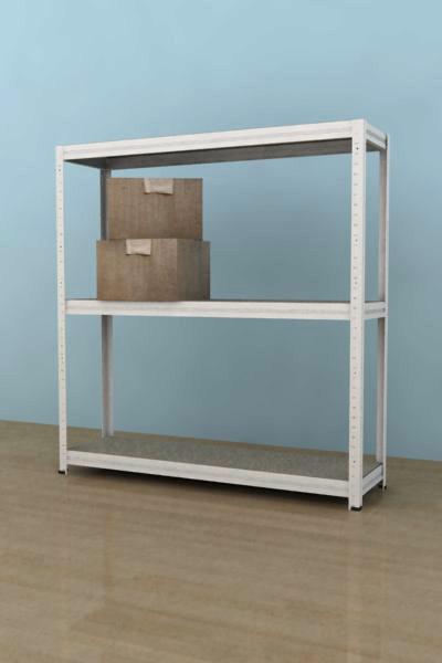 Kovový regál Futur 900x900x350/3, bílá,250kg/pol. lamino (bílá, 250kg/3 pol.lamino)