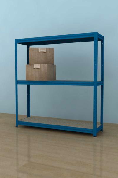 Kovový regál Futur 900x900x350/3, modrá,175kg/pol. lamino (modrá, 175kg/3 pol. lamino)