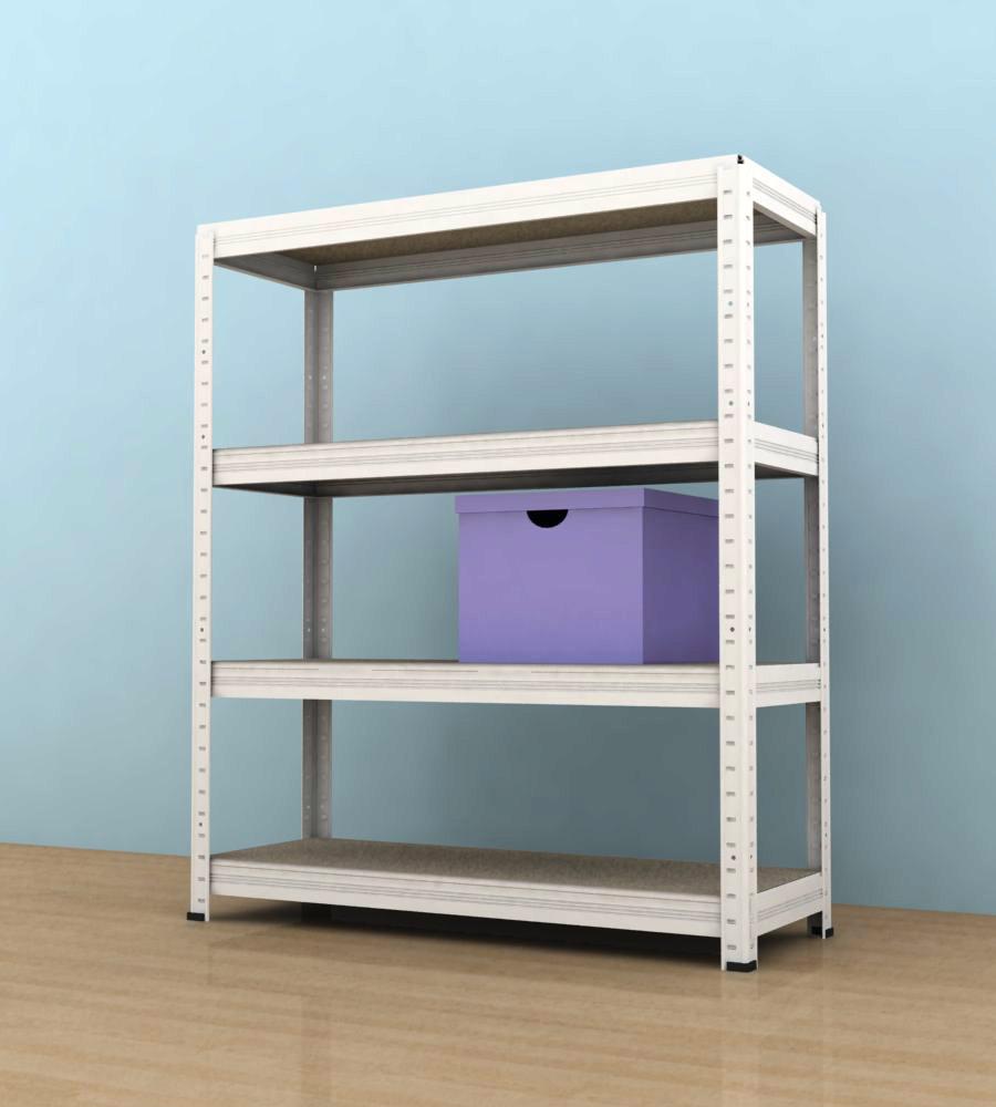 Kovový regál Futur 900x900x350/4, bílá,175kg/pol. lamino (bílá, 175kg/4 pol. lamino)