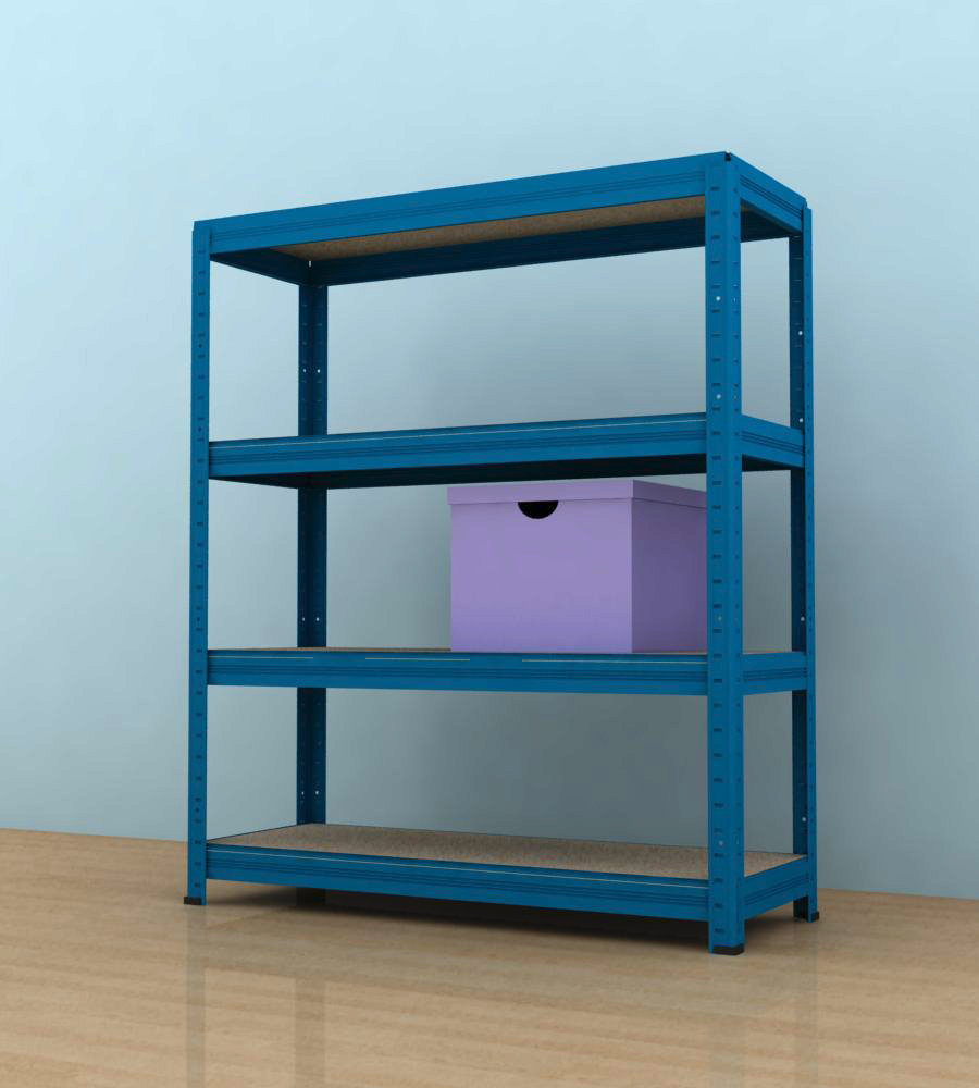 Kovový regál Futur 900x900x350/4, modrá,175kg/pol. lamino (modrá, 175kg/4 pol. lamino)