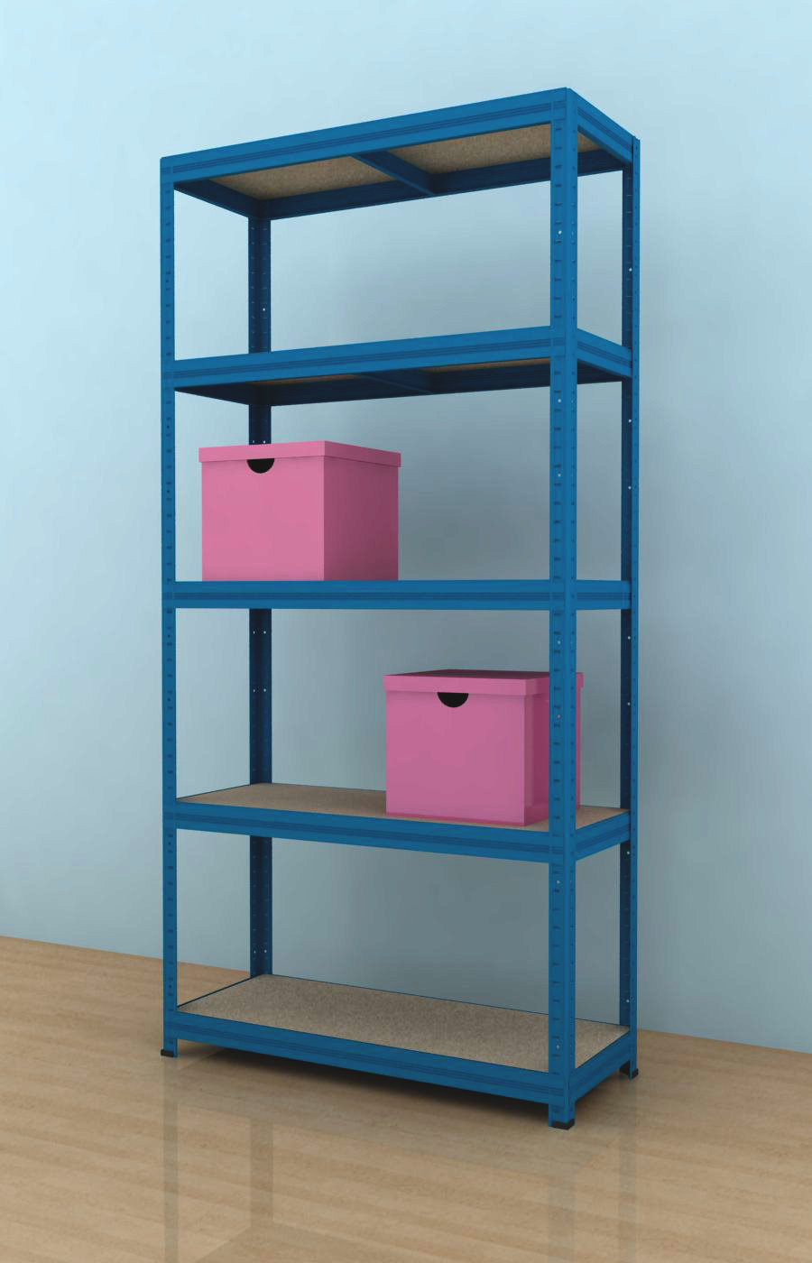 Kovový regál Futur 1700x900x350/5, modrá (modrá, 275 kg/pol.)