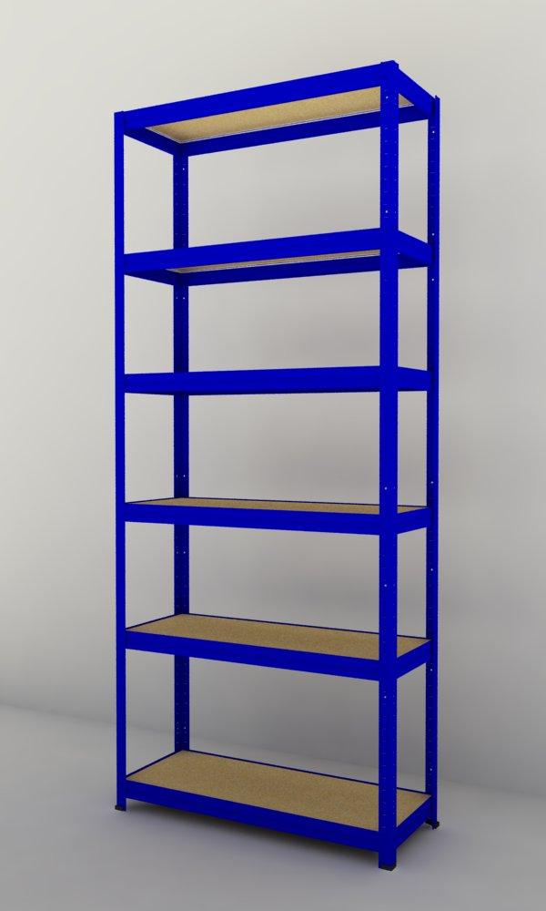 Kovový regál Futur 1700x900x350/6, modrá (modrá, 175 kg/pol.)