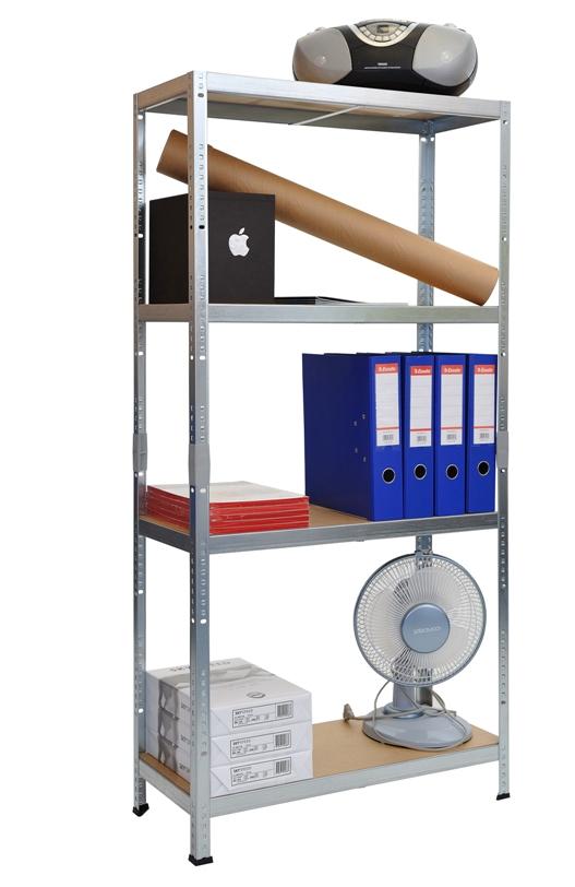 Kovový regál SMARTY 1380x700x300/4, pozink, 50 kg/pol. (HDF 3mm surová)