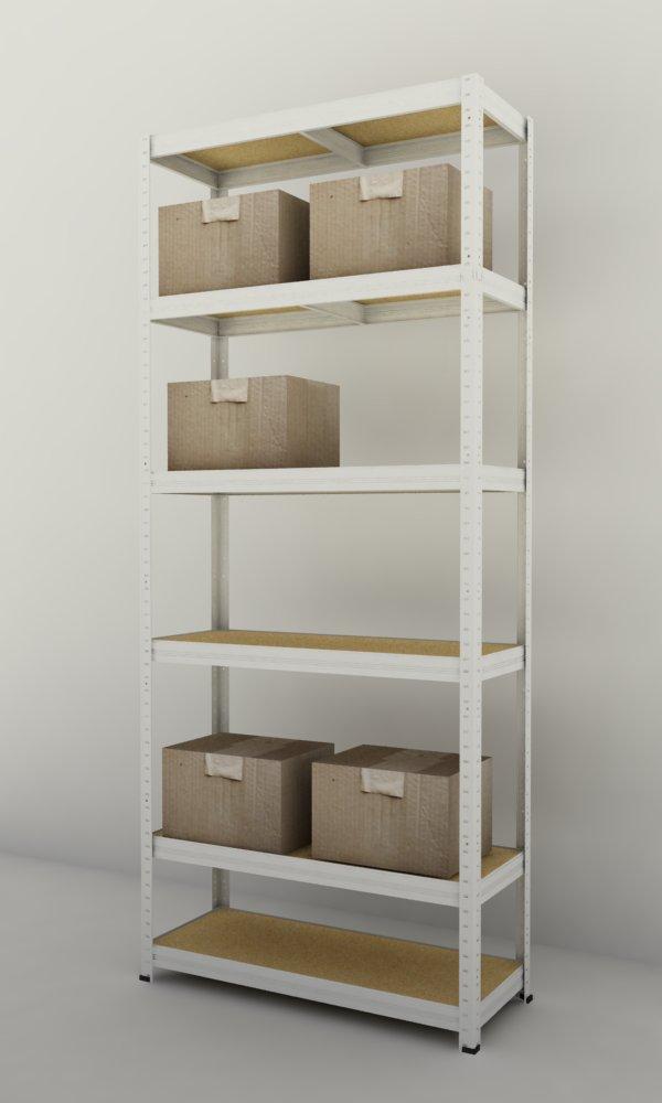 Kovový regál Futur 1800x900x450/6, bílá (bílá, 275 kg/pol.)