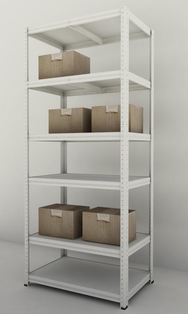 Kovový regál Futur 1800x900x500/6, bílá (bílá, 275 kg/pol., 6 výstuh)