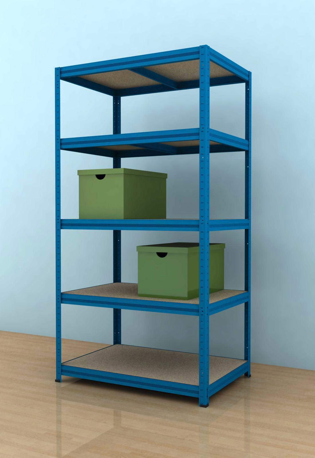 Kovový regál Futur 1800x900x500/5, modrá (modrá, 275 kg/pol., 5 výstuh)