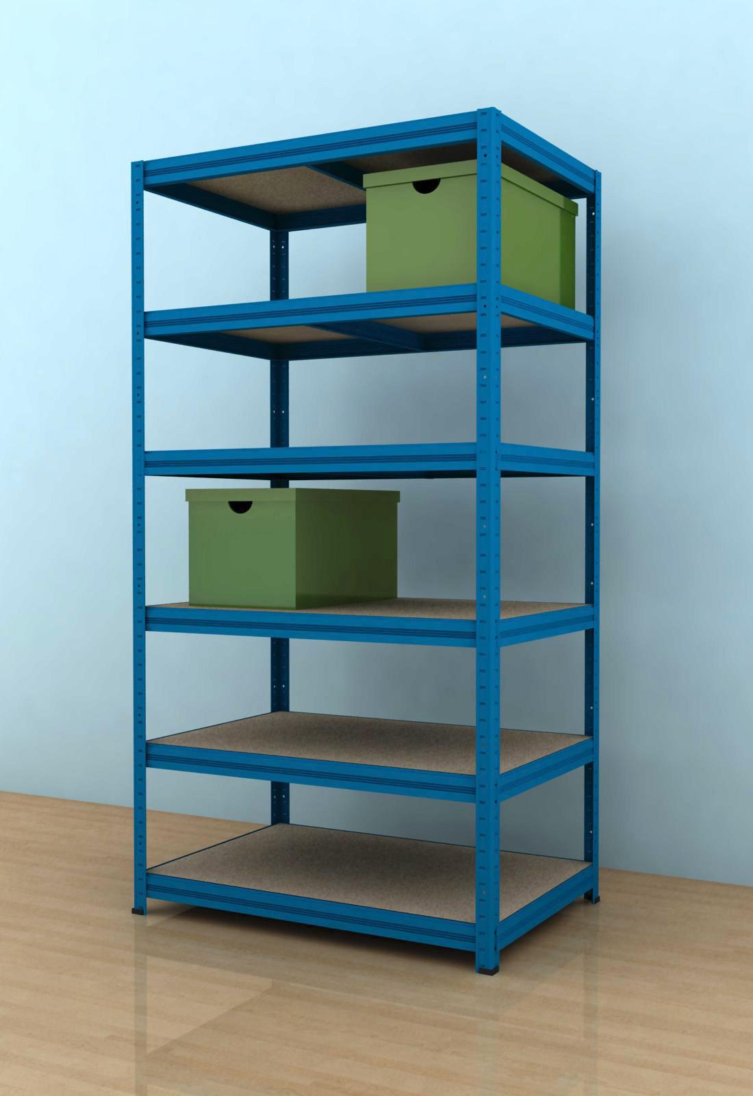 Kovový regál Futur 1800x900x600/6, modrá (modrá, 275 kg/pol., 6 výztuh )