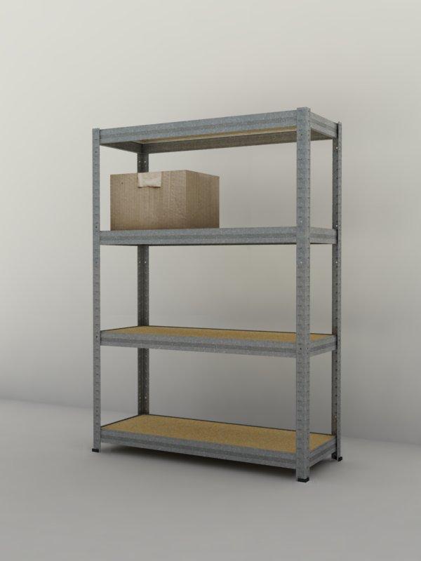 Kovový regál Futur 1700x900x350/4, pozink (pozink, 175 kg/pol.)