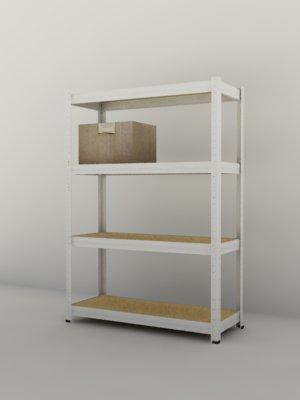 Kovový regál Futur 1700x900x350/4, bílá (bílá, 175 kg/pol.)