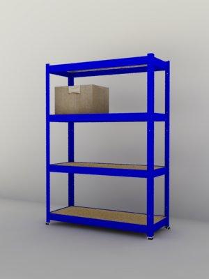 Kovový regál Futur 1700x900x350/4, modrá (modrá, 175 kg/pol.)