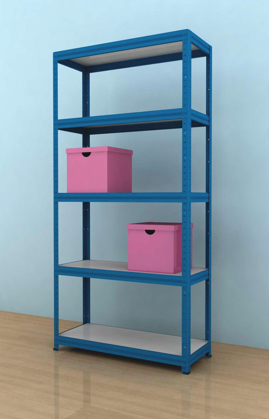 Kovový regál Futur 1800x900x350/5, modrá, 175kg/pol.- lamino. (MODRÁ - DTD-surová)