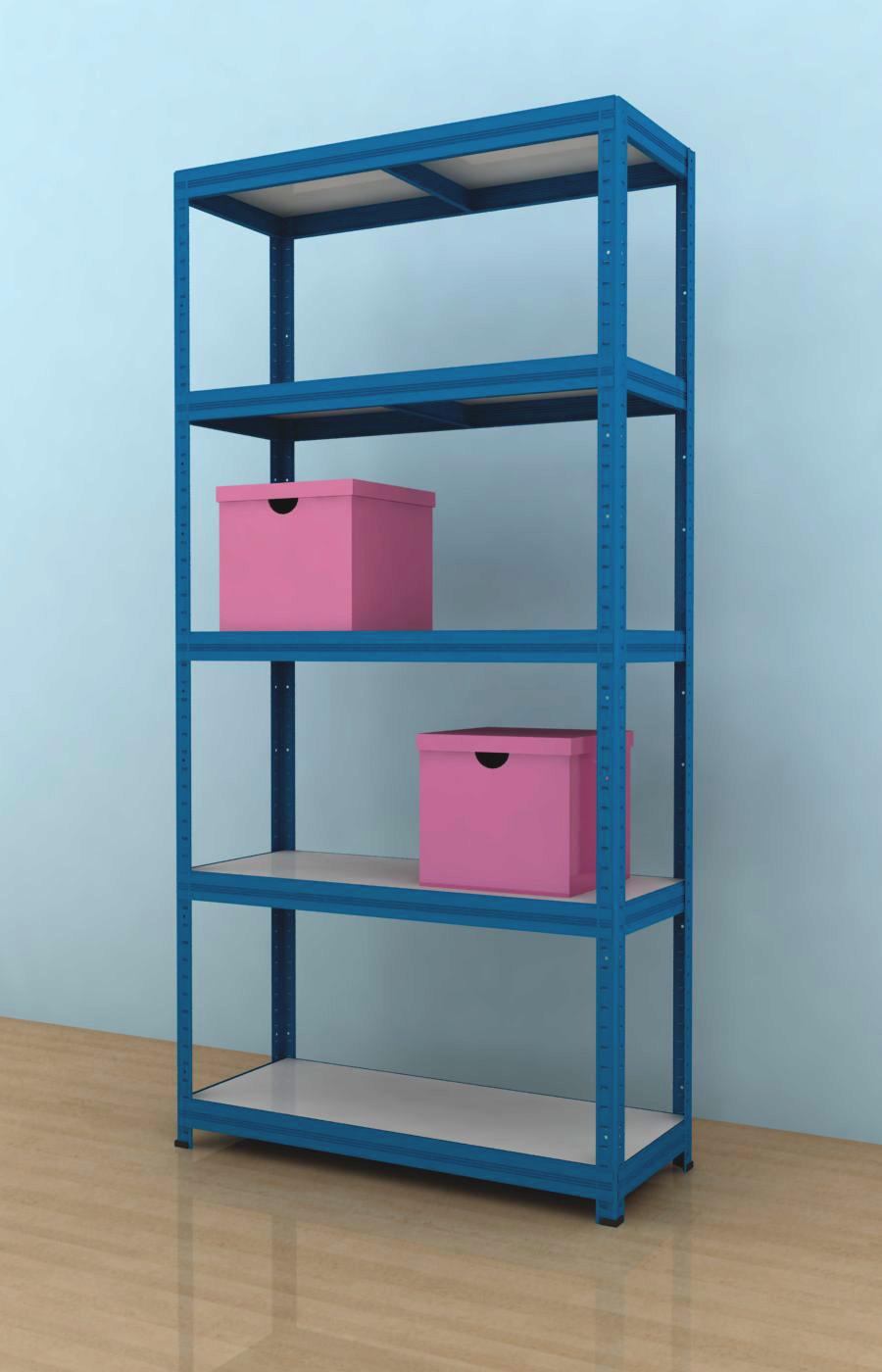 Kovový regál Futur 1800x900x350/5, modrá, 275 kg/pol.- lamino (Modrá, 275kg/pol. lamino!)