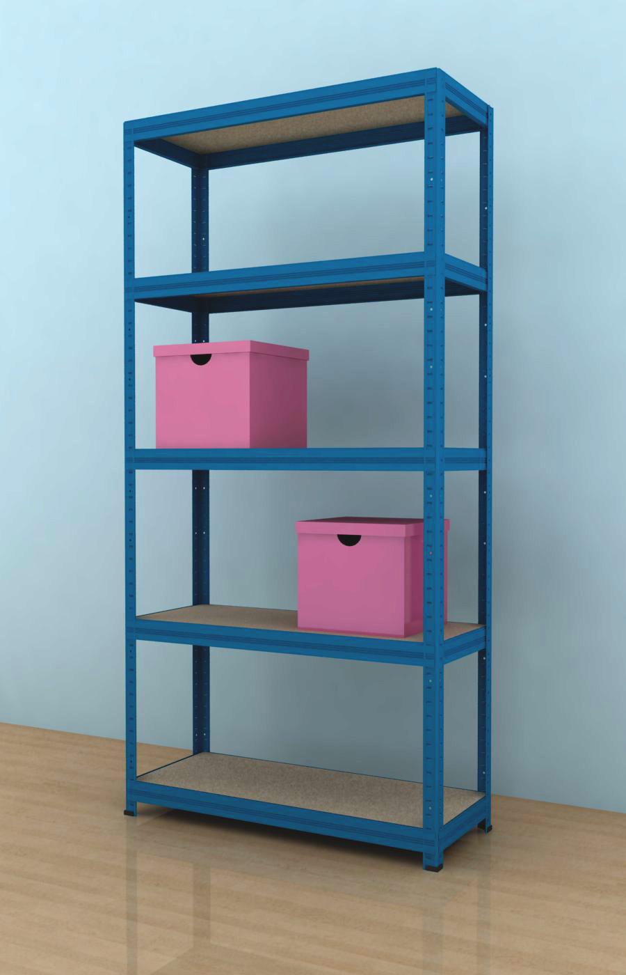 Kovový regál Futur 1800x900x450/5, modrá, 175 kg/pol, (MODRÁ - DTD-surová)