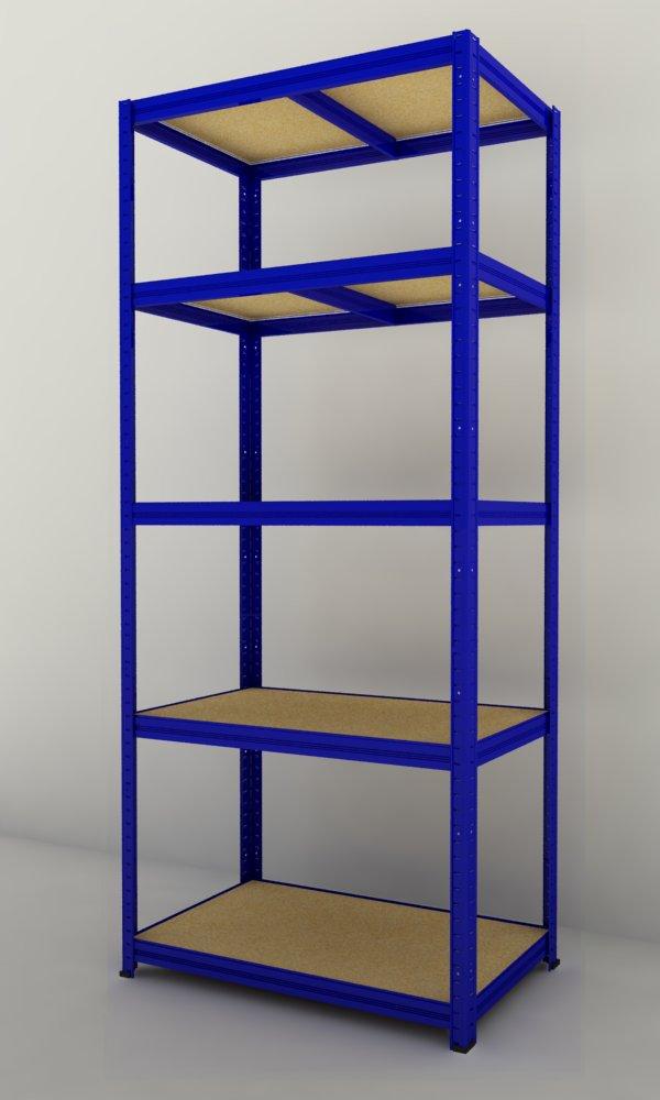 Kovový regál Futur 1800x900x600/5, modrá, 275 kg/pol. (modrá, 5 výztuh )