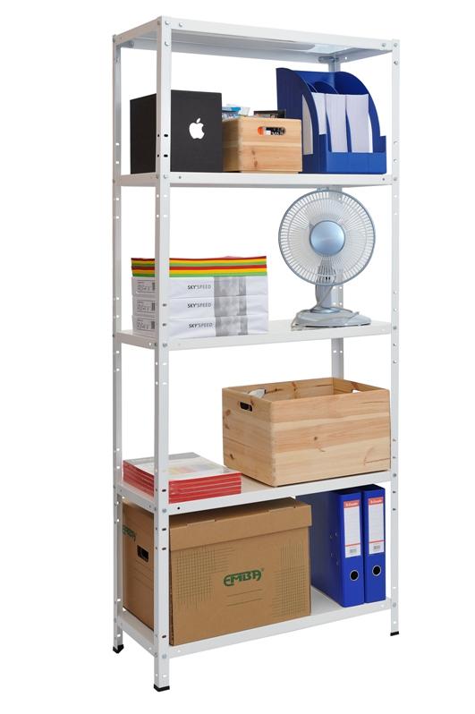 Kovový regál Standard-Eco 1700x750x300/5, bílá, 75 kg/pol. (BÍLÁ 8595145601301)